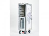 "Trolley Bordbar, ""Weltkarte Weiss"" mit Kühlschrank"