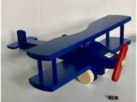 Holzflugzeug - Spielzeug Doppeldecker Blau