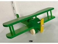 Holzflugzeug - Spielzeug Doppeldecker Grün